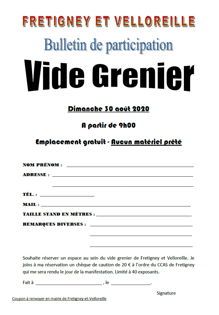 Inscription Vide Grenier
